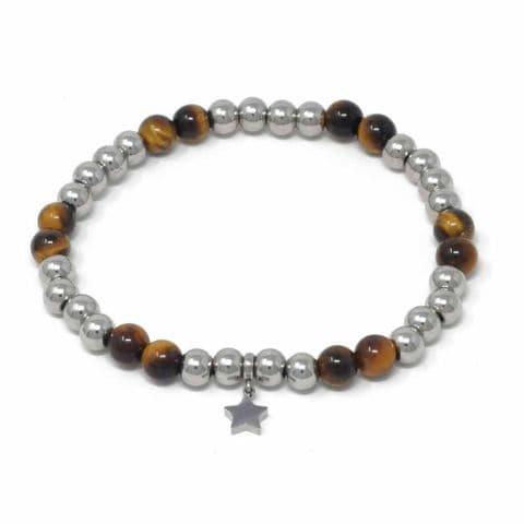 Bisoux Handmade Semi Precious Stone Crystal Star Bracelet in Tigers Eye