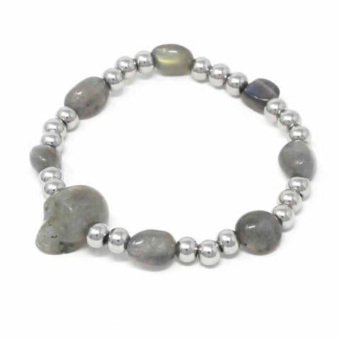 Bisoux Handmade Semi Precious Stone Skull Bracelet in Labradorite