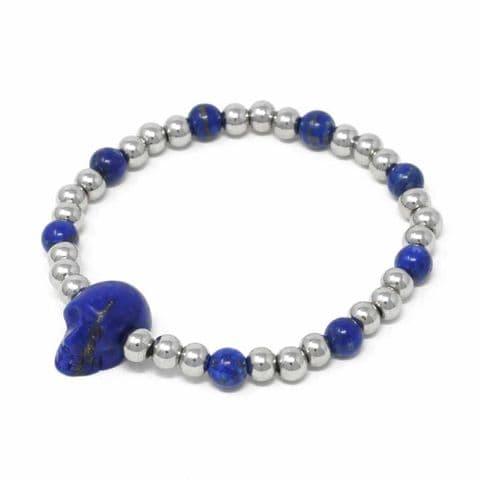 Bisoux Handmade Semi Precious Stone Skull Bracelet in Lapis Lazuli