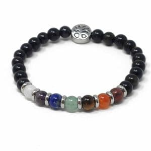 Bisoux Handmade Seven Chakra Stone Bracelet with Shungite and Tree of Life Charm