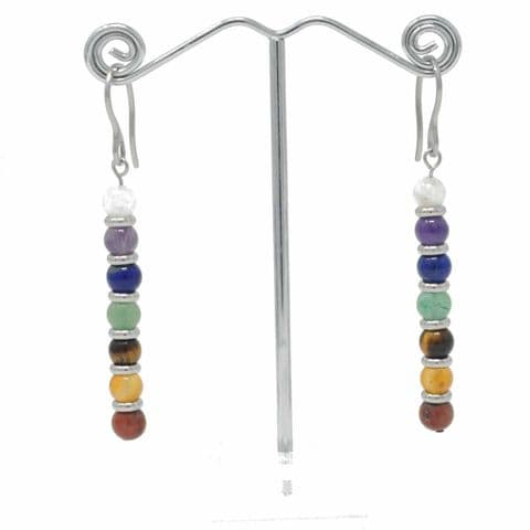 Bisoux Handmade Seven Chakra Stone Drop Earrings with Stainless Steel Hooks