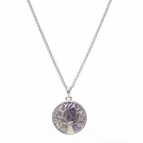 Bisoux Handmade Short Tree of Life Necklace with Amethyst Semi Precious Stone