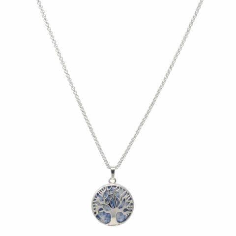 Bisoux Handmade Short Tree of Life Necklace with Lapis Lazuli Semi Precious Stone