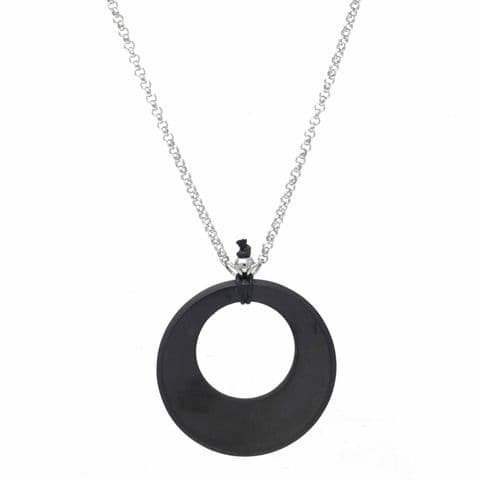 Bisoux Handmade Shungite EMF Protection Circle Pendant Necklace with Stainless Rolo Chain
