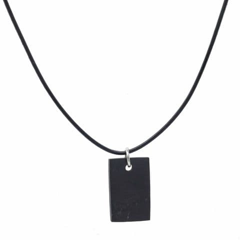 Bisoux Handmade Shungite EMF Protection Unisex Rectangle Necklace with Leather Cord
