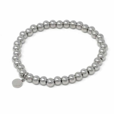Bisoux Handmade Simple Stainless Steel Bracelet with Circle Charm