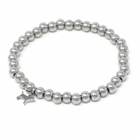 Bisoux Handmade Simple Stainless Steel Bracelet with Dog Charm