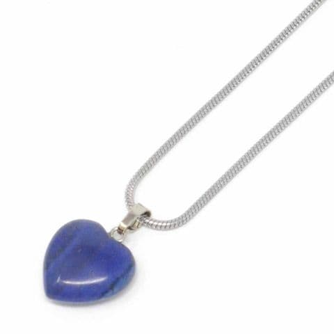 Bisoux Handmade Small Crystal Heart Necklace in Lapis Lazuli