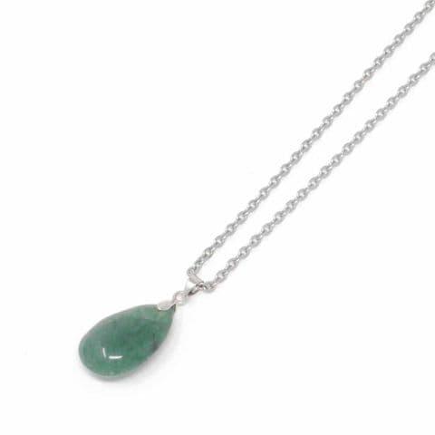 Bisoux Handmade Small Teardrop Semi Precious Stone Short Necklace in Aventurine
