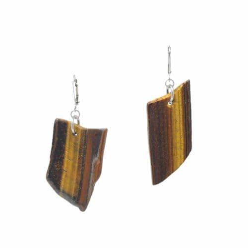 Bisoux Handmade Tigers Eye Slate Semi Precious Stone Large Earrings