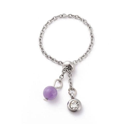 Bisoux Jewellery Adjustable Amethyst Chain Ring