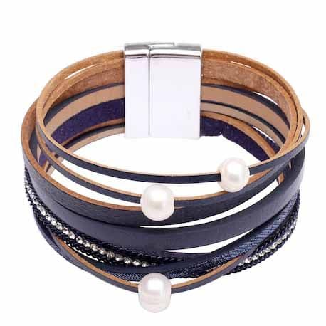 Bisoux Jewellery Freshwater Pearl Leather Effect Double Wrap Bracelet in Navy