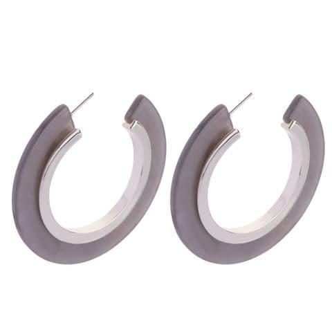 Bisoux Jewellery Grey Resin Large Hoop Earrings