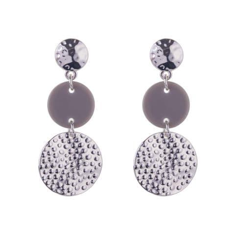 Bisoux Jewellery  Grey Resin Triple Pendant Earrings