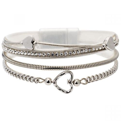 Bisoux Jewellery Magnetic Multi Strand Heart Bracelet in Silver
