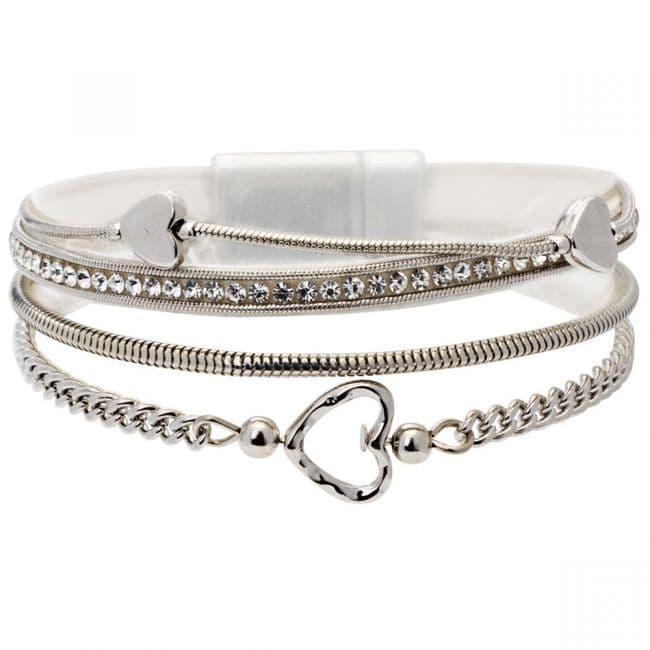 Bisoux Jewellery|Bisoux Jewellery Magnetic Multi Strand Heart Bracelet in Silver