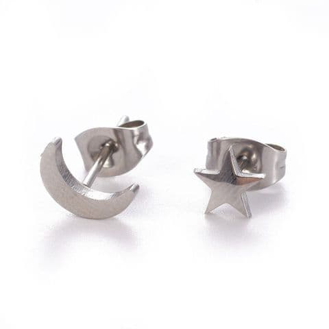 Bisoux Jewellery Moon and Star Stud Stainless Steel Earrings