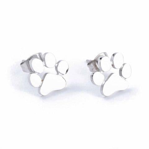 Bisoux Jewellery Paw Print Stud Stainless Steel Earrings