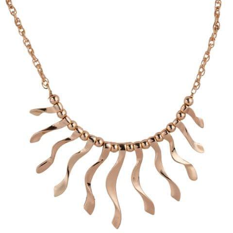Bisoux Jewellery Short Gold Wavey Bar Necklace