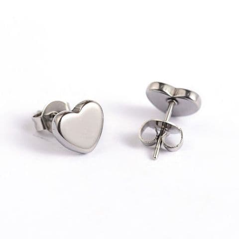 Bisoux Jewellery Small Heart Stud Stainless Steel Earrings