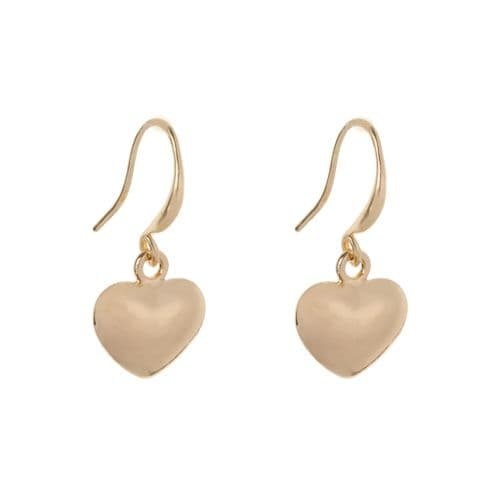 Bisoux Jewellery Small Sweetheart Heart Earrings in Gold