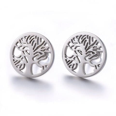 Bisoux Jewellery Tree of Life Stud Stainless Steel Earrings
