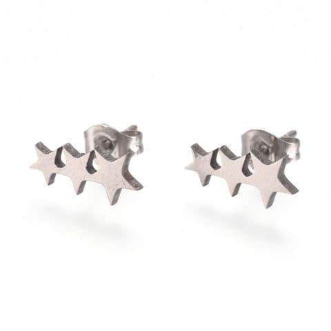 Bisoux Jewellery Triple Star Stud Stainless Steel Earrings