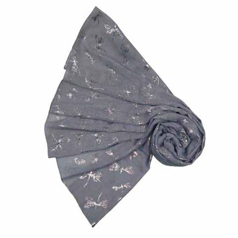 Bisoux Large Soft Dragonfly Foil Scarf in Dark Grey