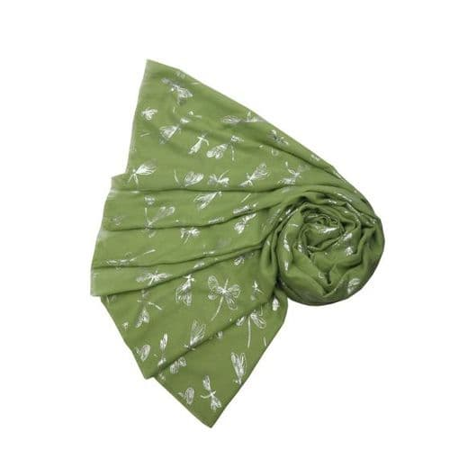 Bisoux Large Soft Dragonfly Foil Scarf in Green