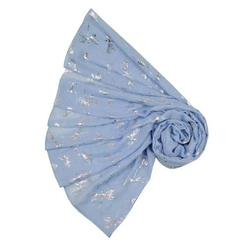 Bisoux Large Soft Dragonfly Foil Scarf in Pale Blue
