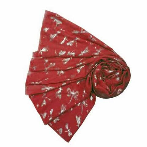 Bisoux Large Soft Dragonfly Foil Scarf in Red
