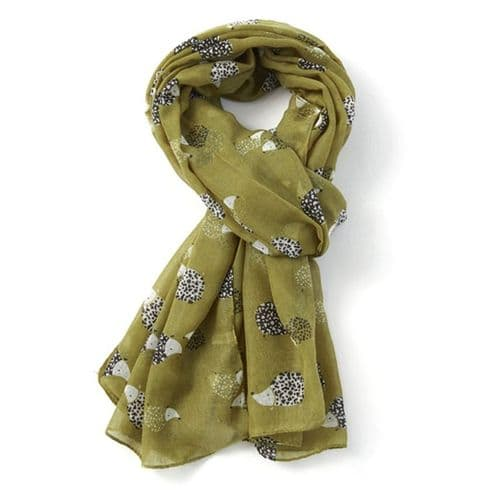 Bisoux Large Soft Hedgehog Print Scarf in Green