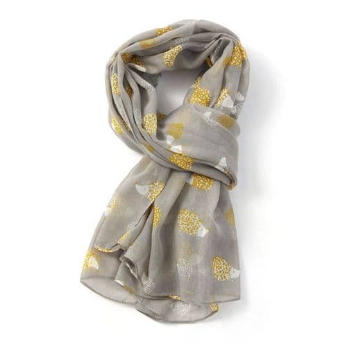Bisoux Large Soft Hedgehog Print Scarf in Grey
