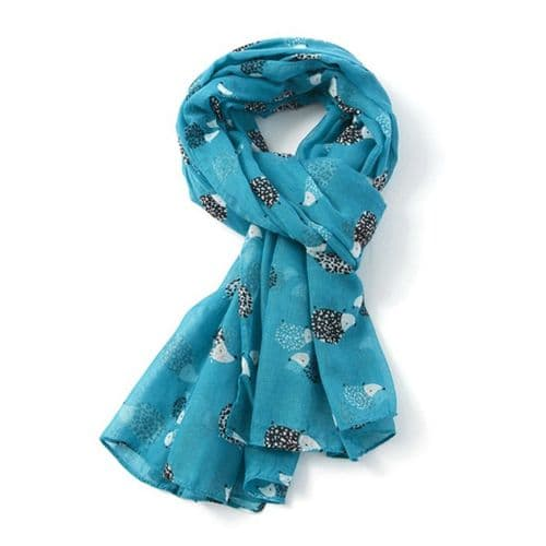 Bisoux Large Soft Hedgehog Print Scarf in Turquoise