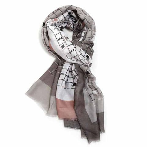 Bisoux Multi Squares Scarf in Grey and Pink