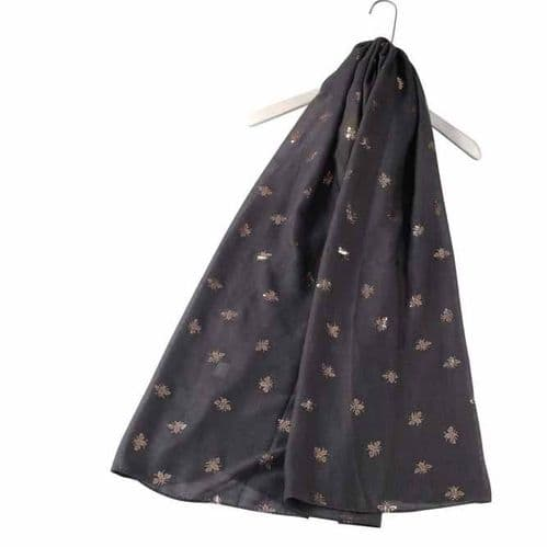 Bisoux Rose Gold Bee Foil Print Scarf in Charcoal Grey
