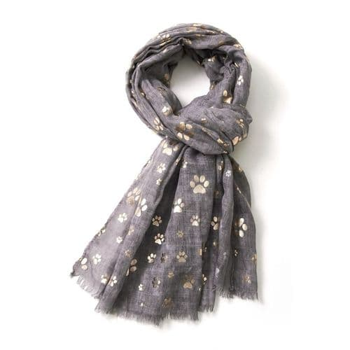 Bisoux Rose Gold Paw Print Foil Print Scarf in Grey