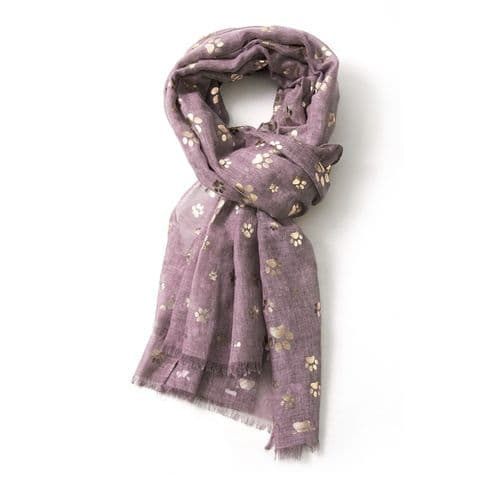Bisoux Rose Gold Paw Print Foil Print Scarf in Purple