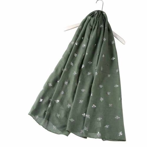 Bisoux Silver Bee Foil Print Scarf in Green