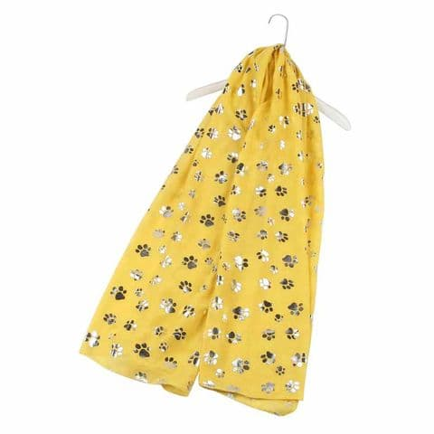 Bisoux Silver Paw Print Foil Print Scarf in Yellow