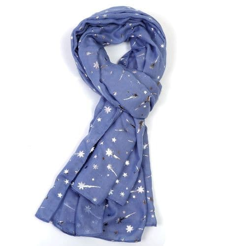 Bisoux Silver Shooting Star Foil Print Scarf in Blue