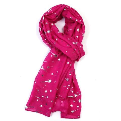 Bisoux Silver Shooting Star Foil Print Scarf in Cerise