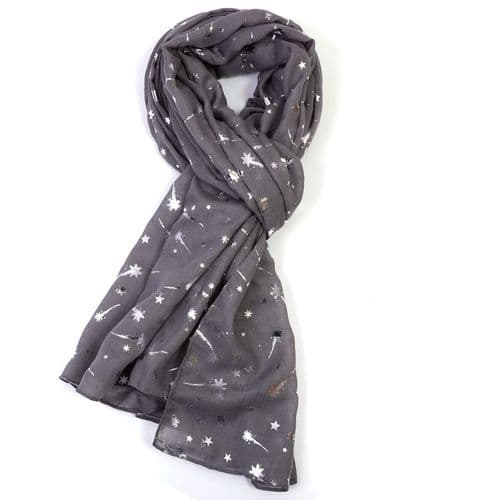 Bisoux Silver Shooting Star Foil Print Scarf in Dark Grey