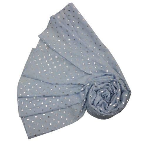 Bisoux Silver Spot Foil Print Scarf in Blue