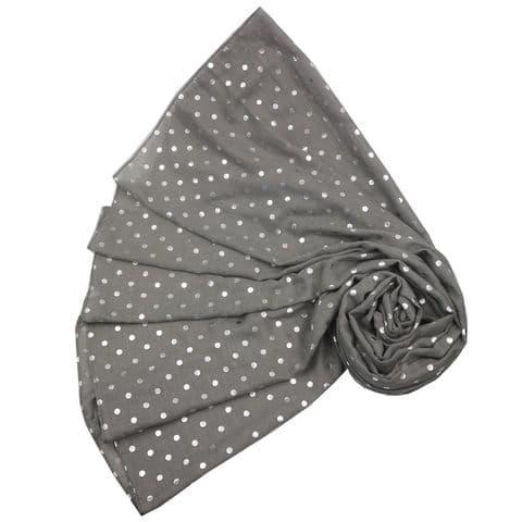 Bisoux Silver Spot Foil Print Scarf in Grey