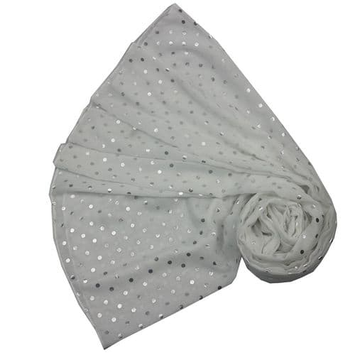 Bisoux Silver Spot Foil Print Scarf in Silver