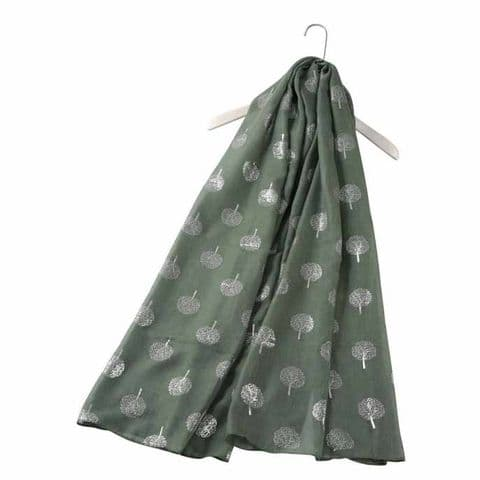 Bisoux Silver Tree Foil Print Scarf in Green