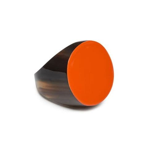 Branch Jewellery Buffalo Horn Ring in Lacquered Orange