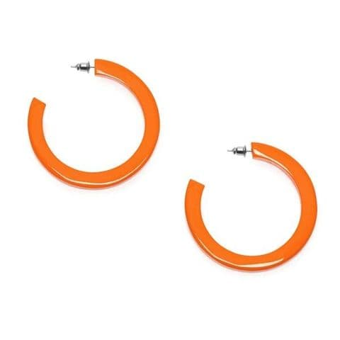 Branch Jewellery Lacquered Buffalo Horn Hoop Earrings in Orange Lacquered