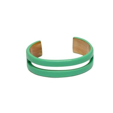 Branch Jewellery Natural Buffalo Horn Cut Out Cuff Bangle in Lacquered Mint Green